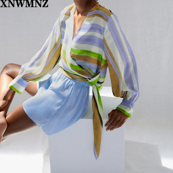 XNWMNZ Za women Crossover striped multicoloured top V-neck top featuring long sleeves and wrap-style tie closure tops purple lace design v neck long sleeves self tie waist pajamas