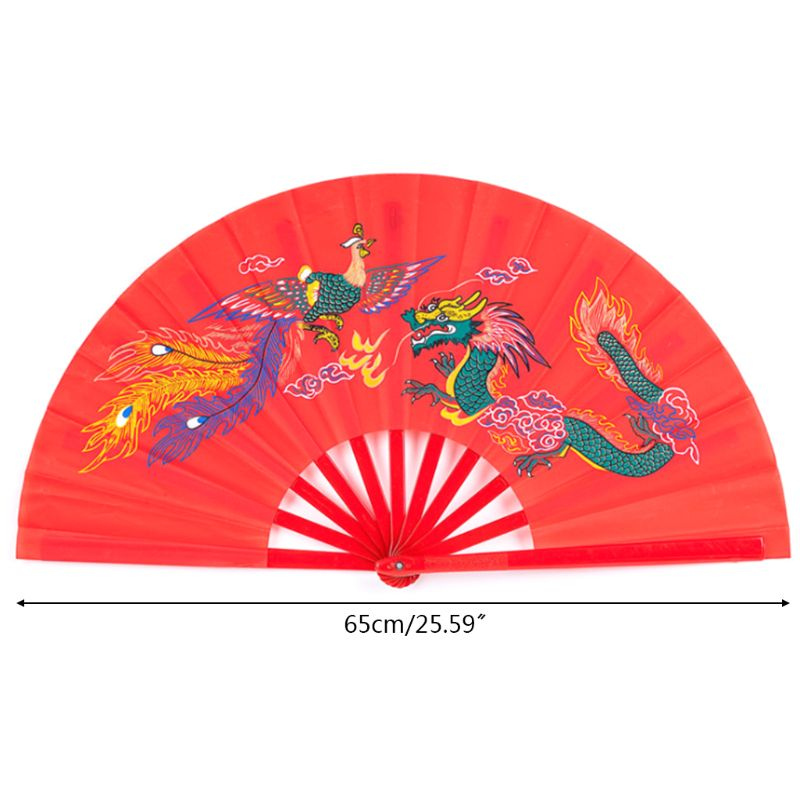 Chinese Kung Fu Fan Tai Chi Martial Arts Dragon Phoenix Plastic Handheld Folding Fans Art Dance Gift