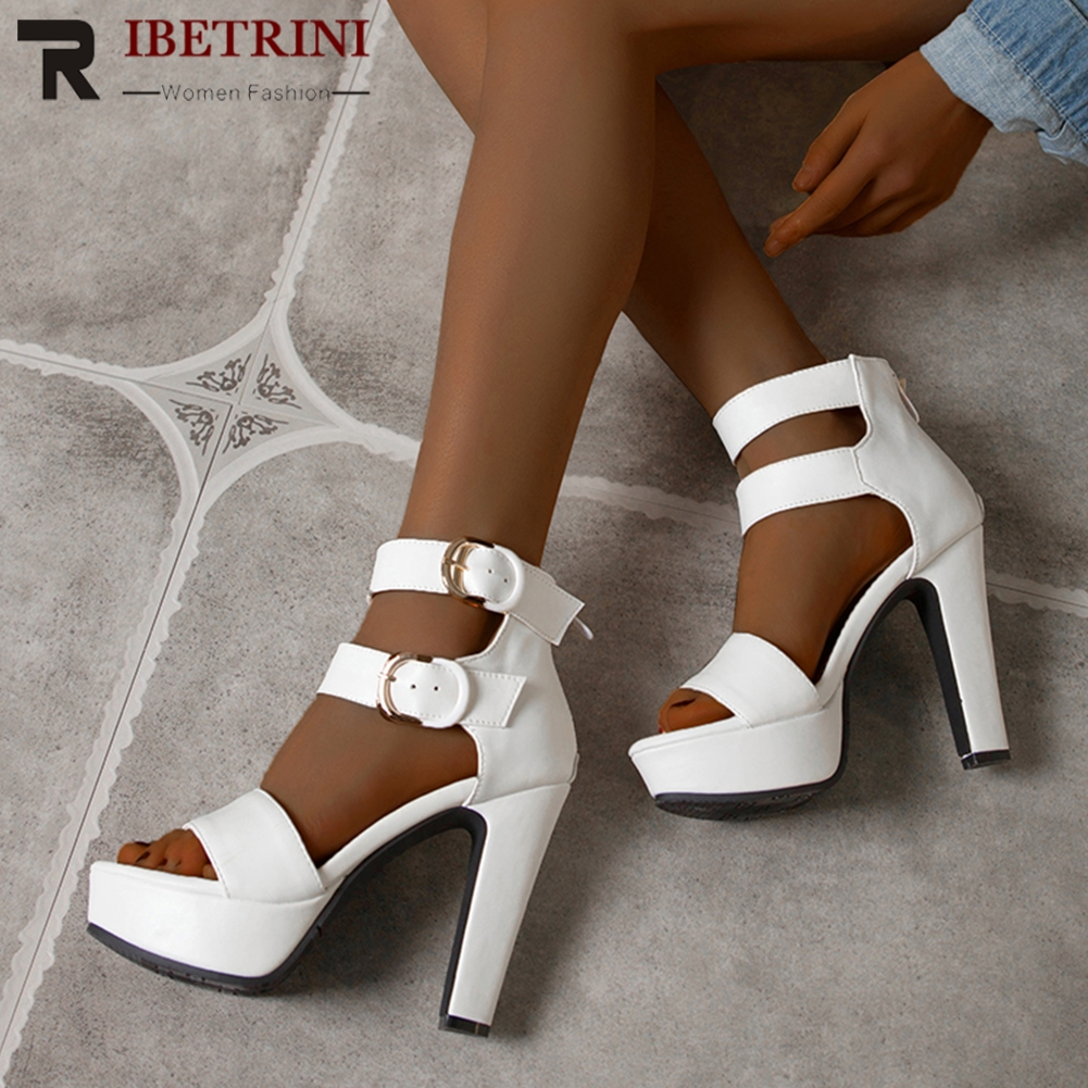 Buy RIBETRINI 2020 New Hot Sale Female Summer Platform Shoes Woman Fashion Extrem High Heels Gladiator Sandals Women Party Sandals