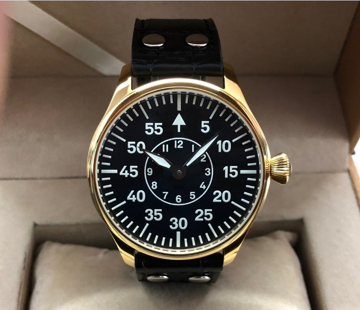 Sapphire crystal or Mineral glass 44mm no logo  two hands Asian 6497  Mechanical  movement  golden case C3 luminous men's watch