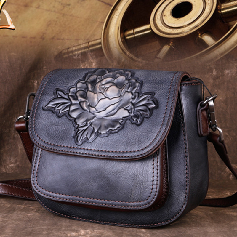 Genuine Leather Women Messenger Floral Bag High Quality Female Leisure Small Embossed Retro Lady Single Cross Body Shoulder Bags
