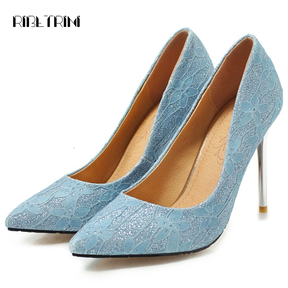 Pumps Woman High-Heels Elegant Party-Shoes Pointed-Toe Plus-Size Ladies Thin Shallow
