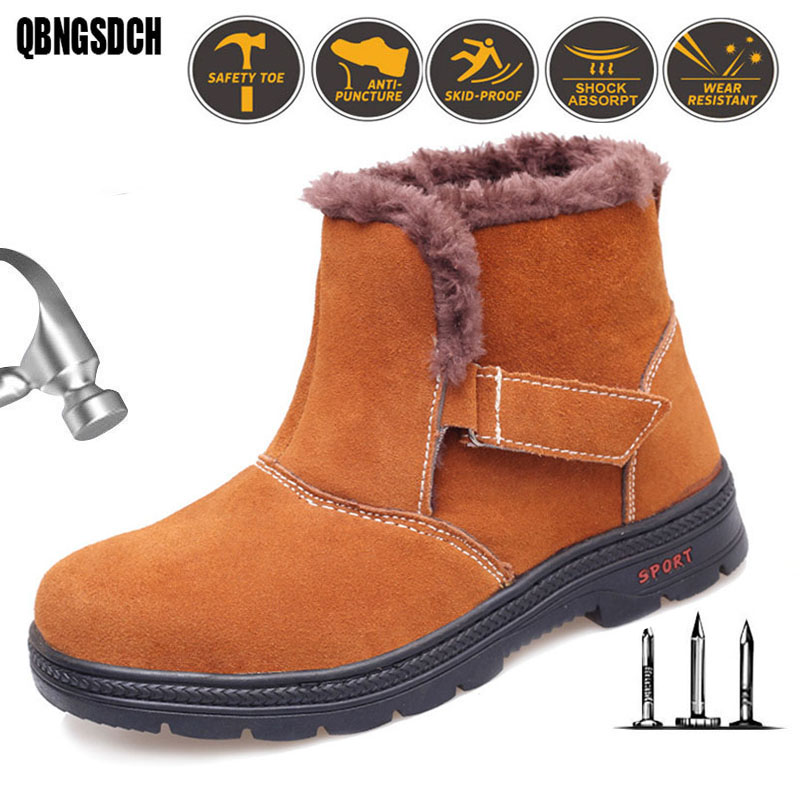 Safety Shoes Men Winter Warm Work Boots Cowhide Fire Flower Oil Resistant Acid Alkali Welding Work Shoes Work Safety Boots