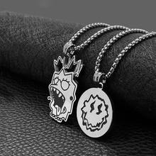 Fashion hip-hop smile face necklace titanium steel smile round card men and women couple wild accessories hot sale