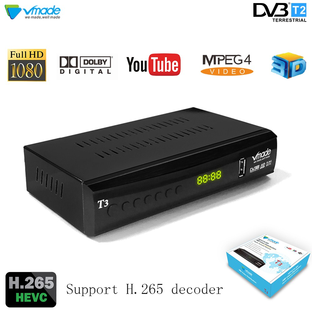 Vmade DVB-T2 DVB-T H.265 MPEG-2/4 HD TV Tuner Receiver Support Youtube Dolby AC3 Fully Digital Terrestrial Stardard Set-Top Box