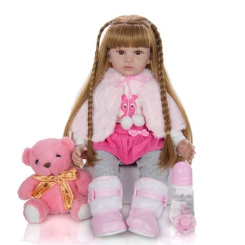 Big 60cm real size Reborn toddler girl doll Baby Doll Toys reborn with Long hair Realistic Baby Dolls 100% Handmade