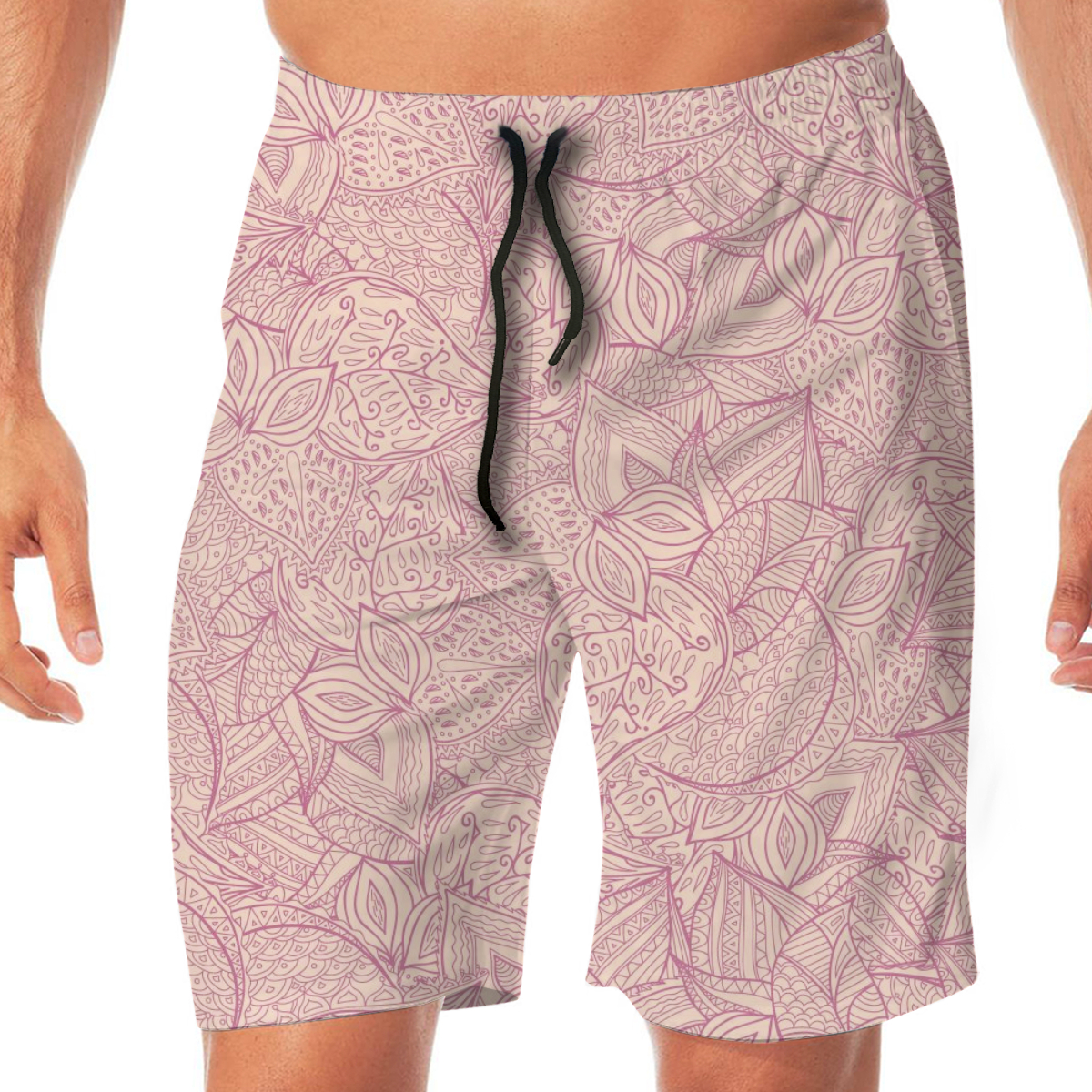 Men Casual Summer Hawaiian Beach Pants Half Trousers Hand-Drawn Almond And Peaches Pink Background