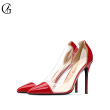 Купить с кэшбэком GOXEOU Women Pumps 2019 Transparent  red High Heels Sexy Pointed Toe Slip-on Wedding Party Shoes For Lady plus Size 32-46