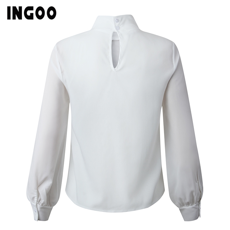 H9b0f00cd026e4430b45afeb172cce1f79 - INGOO Autumn Turtleneck Office Women Shirt Lantern Long Sleeve Ruched Pleated Blouses Button Elegant Blue White Shirts Female