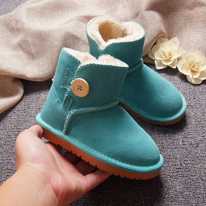 Теплая зимняя детская обувь; нескользящая подошва из коровьей кожи с шерстяной подкладкой; кожаные дышащие зимние сапоги; теплая хлопковая обувь для мальчиков и девочек