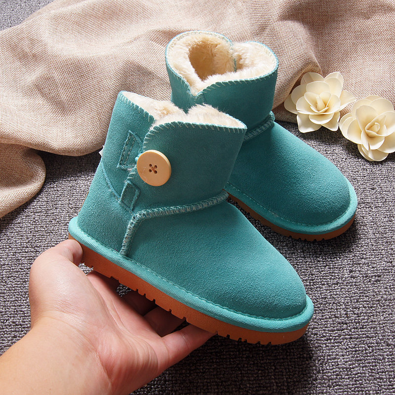 Winter Keep Warm Children Shoes Non-slip Cow Muscle Sole Wool Lining Leather Breathable Snow Boots Warm Cotton Shoe For Boy Girl