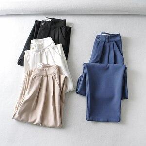 Женские повседневные брюки ZTK, весна-осень 2021, однотонные свободные базовые шаровары с высокой талией, белые брюки в стиле High Street