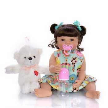 55cm Full Silicone Reborn Baby Doll Toy For Girl bebes reborn bonecas alive babies can bathe
