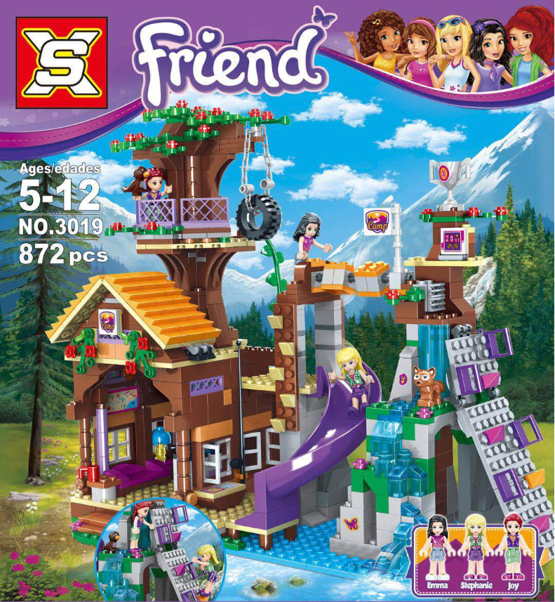 872PCS Friends Adventure Camp Tree House Stephanie Figures Kit Building Blocks Girl Emma Toys Compatible Lepining 41122 Gifts