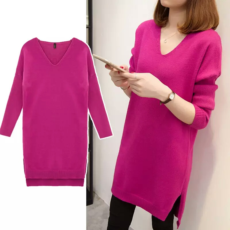 Plus Size 4XL Fashion Women Pullover Sweater Dress Autumn Winter Loose V-neck Knitted Long Sweater Solid Casual Female Pullovers