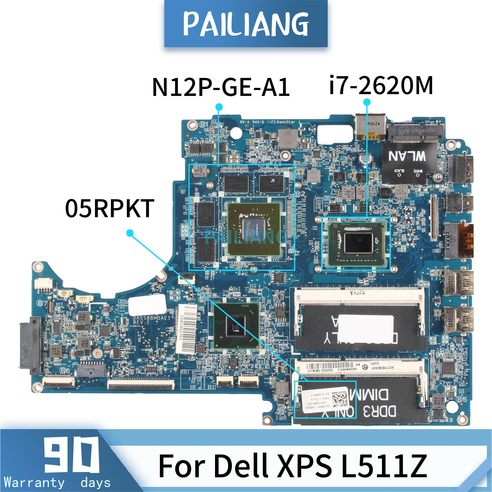 PAILIANG Laptop motherboard For Dell XPS L511Z Core <font><b>i7</b></font>-<font><b>2620M</b></font> Mainboard 05RPKT DASS8BMBAE1 TESTED N12P-GE-A1 DDR3 image