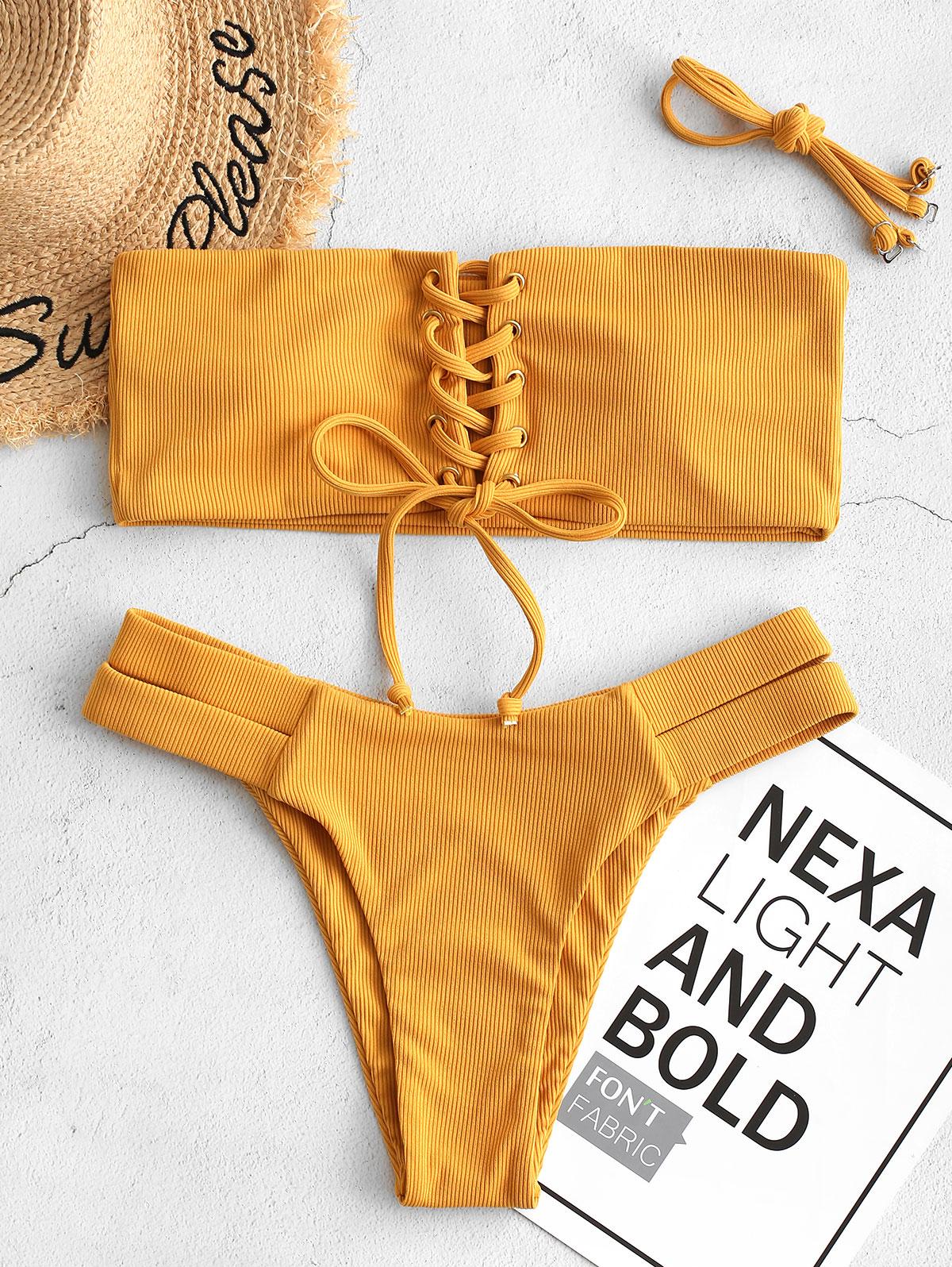 ZAFUL Bikini Women Ribbed Bandeau Lace Up Bikini Swimsuit Sexy Push Up Bathing Suit Solid Cut Out Swimwear 2020