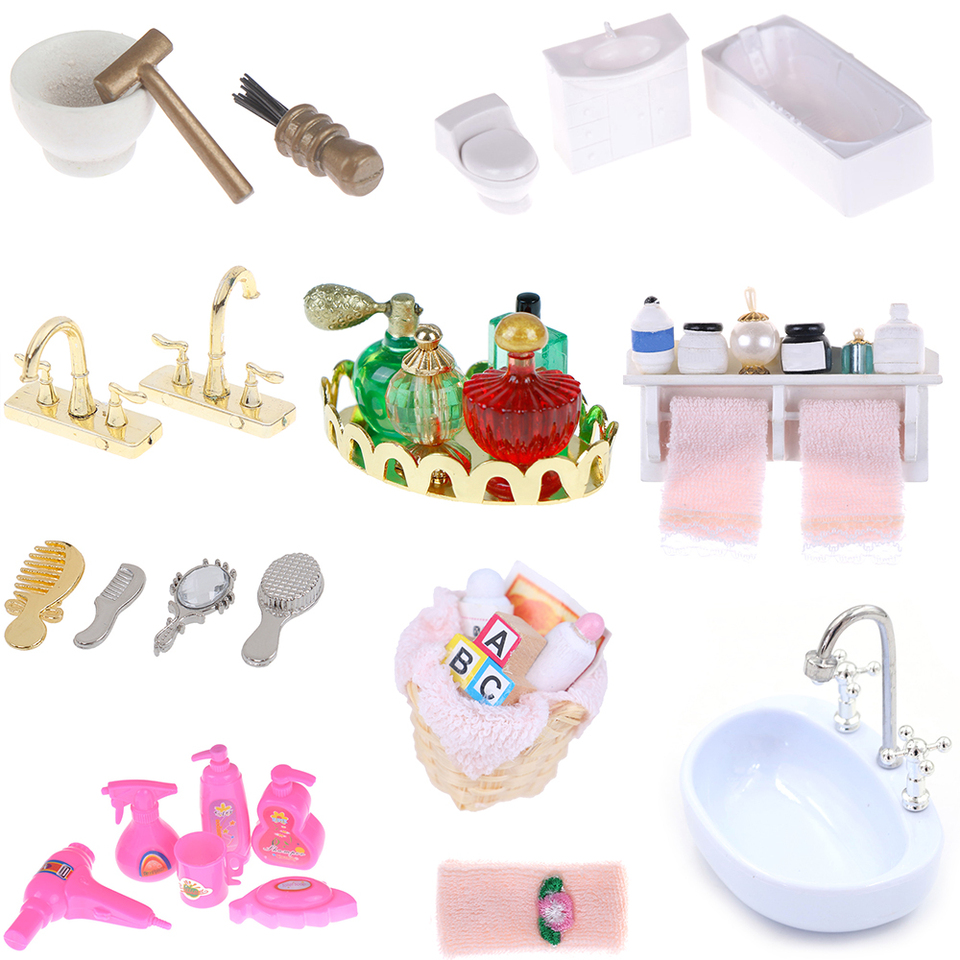 Diy Towel Rack Shower Faucet Tissue Toothbrush Toothpaste Cup Baskets Hair Dryer 1 12 Dollhouse Bathroom Furniture Accessories Furniture Toys Aliexpress