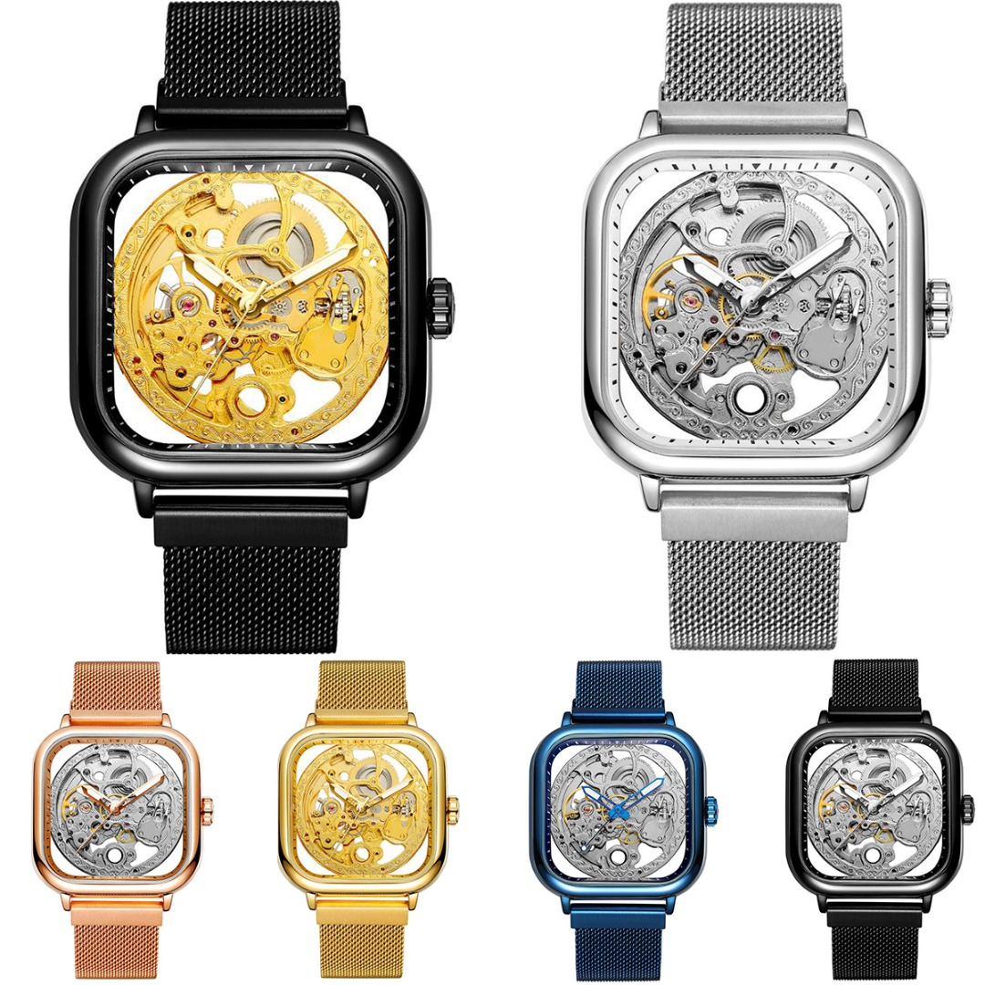 Fashion Men Auto Mechanical Skeleton Watch Square Hollow Dial Mesh Strap Wristwatch Stainless Steel Waterproof Watch