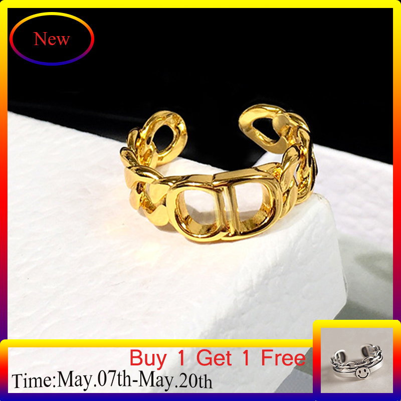 2021 New Design D Letter D Gold Color Open Adjustable Ring for Women Net Celebrity Hot Style Female Ring All-match Fashion
