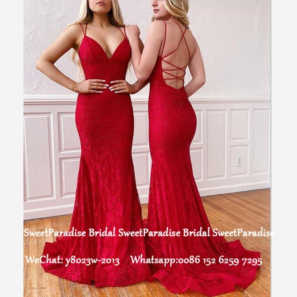 Sexy Criss Cross Back Red Lace Bridesmaid Dresses Mermaid 2020 Spaghetti Strap Women Long Wedding Party Dress Vestido De Festa