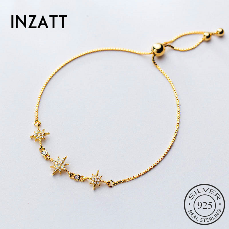 INZATT Real 925 Sterling SilverZircon Star Bracelet For Fashion Women  Party Trendy Fine Jewelry Chain Cute Accessories Gift