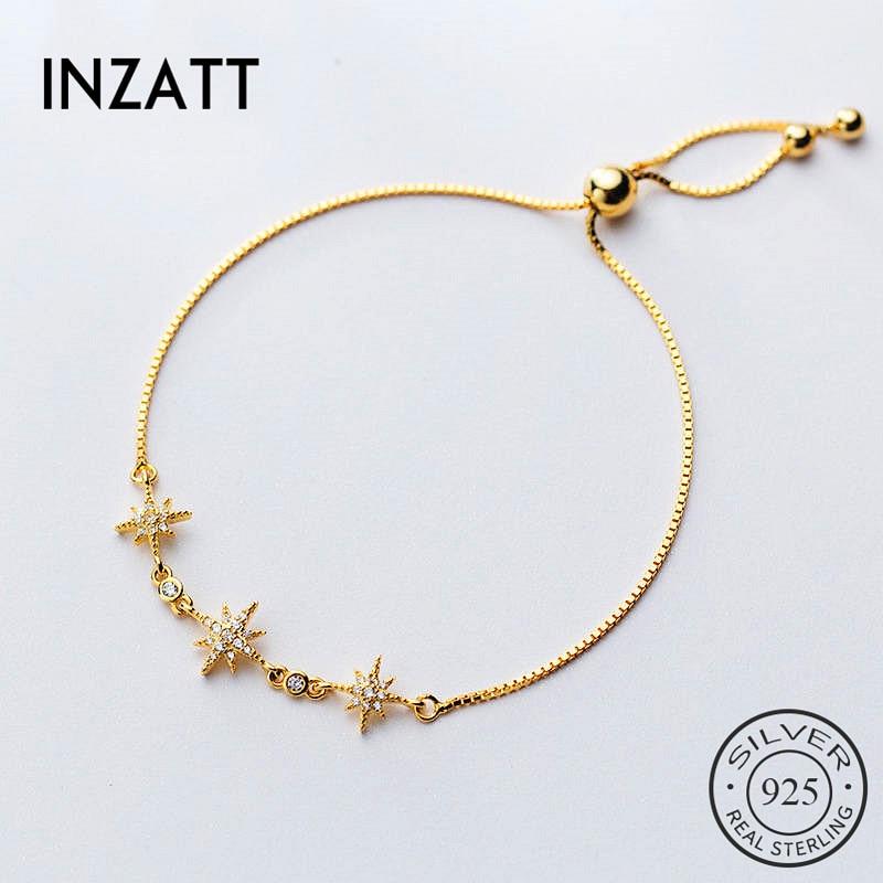 INZATT Real 925 Sterling SilverZircon Star Bracelet For Fashion Women  Party Trendy Fine Jewelry Chain Cute Accessories Gift
