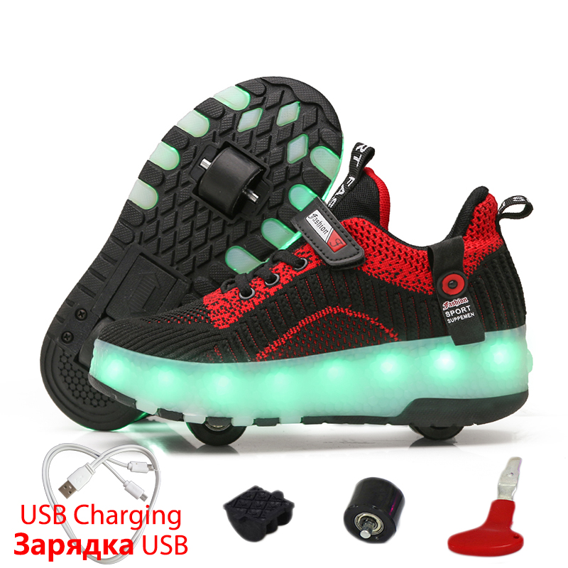 2019 New Luminous Sneakers For Kids Glowing Sneakers With Wheels Kids Shoes Roller Skates Shoes Wheels Sneakers For Boys