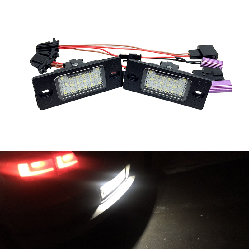 2PCs CANbus Error Free White <font><b>18</b></font>-<font><b>SMD</b></font> Led Number License Plate Lights For VW Touareg Tiguan Glof 5 Passat B5.5 Touring image