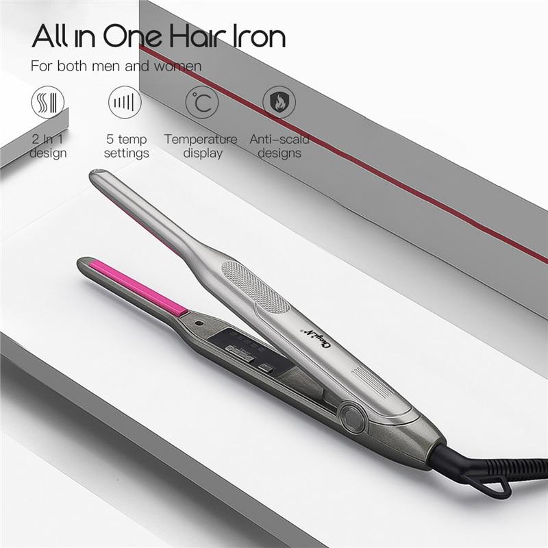 Ferro para Cabelo Alisamento de Ferro para Mulheres dos Homens 2 em 1 Ckeyin Mini Cabelo Curler Straightener Pequena Plana Curto Barba Pequenos Cachos Vacilar