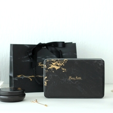 Simple Marble Rectangular Personality Wedding Candy Tin Box Black Biscuit Chocol