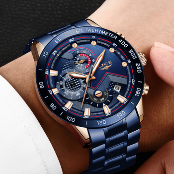 LIGE Men Watches Top Brand Luxury Stainless Steel Blue Waterproof Quartz Watch Men Fashion Chronograph Male Sport Military Watch 5