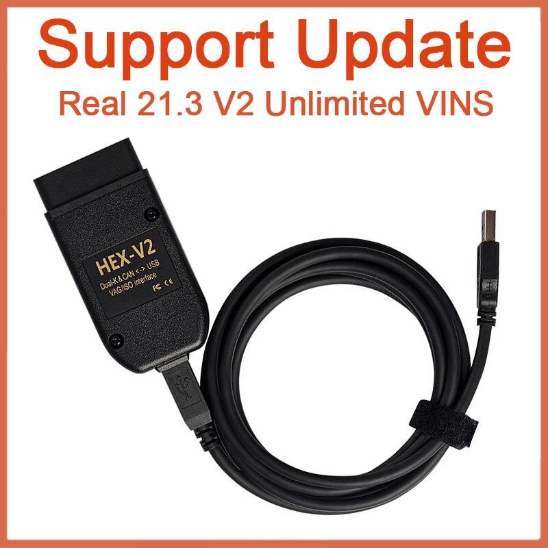 Болты с шестигранной V2 20,12 V2 реальные 21,3 поддержать Обновление VAG COM интерфейсный usb-кабель OBD2 электрические тестеры общего для VW AUDI Skoda Беспл...