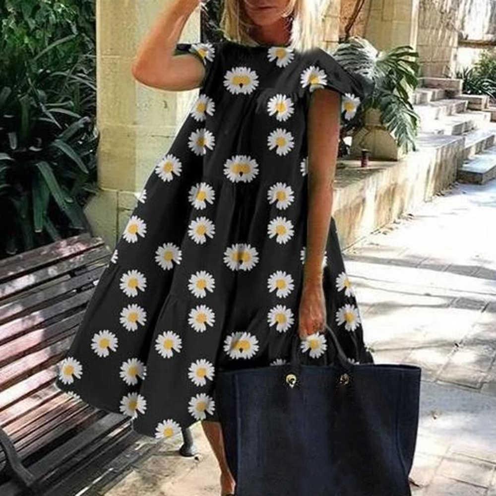 Femmes Vintage imprimé fleuri haut ample 2020 été o-cou pétale à manches courtes chemise haute élégant fête longue chemise livraison directe