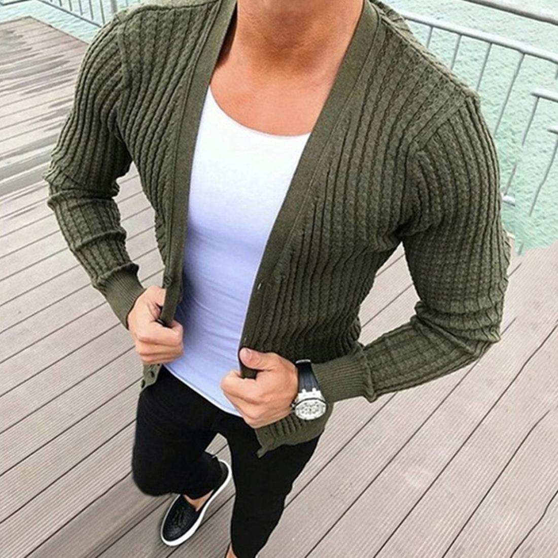 2020 Autumn Sweater Men V-neck Solid Slim Fit Knitted Mens Sweaters Cardigan Male Autumn Long Sleeve Solid Casual Tops Polyester