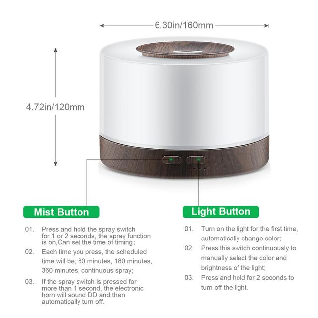 500ML Aromatherapy Diffuser Xiomi Air Humidifier with LED Light Home Room Ultrasonic Cool Mist Aroma Essential Oil Diffuser 4