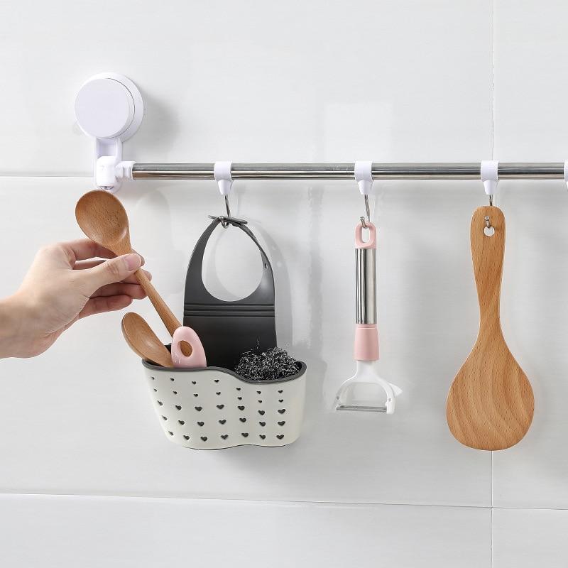 Double layer Kitchen Organizer Sponge Storage Hanging Basket Kitchen adjustable Sink Storage Basket Hanging Kitchen Holder