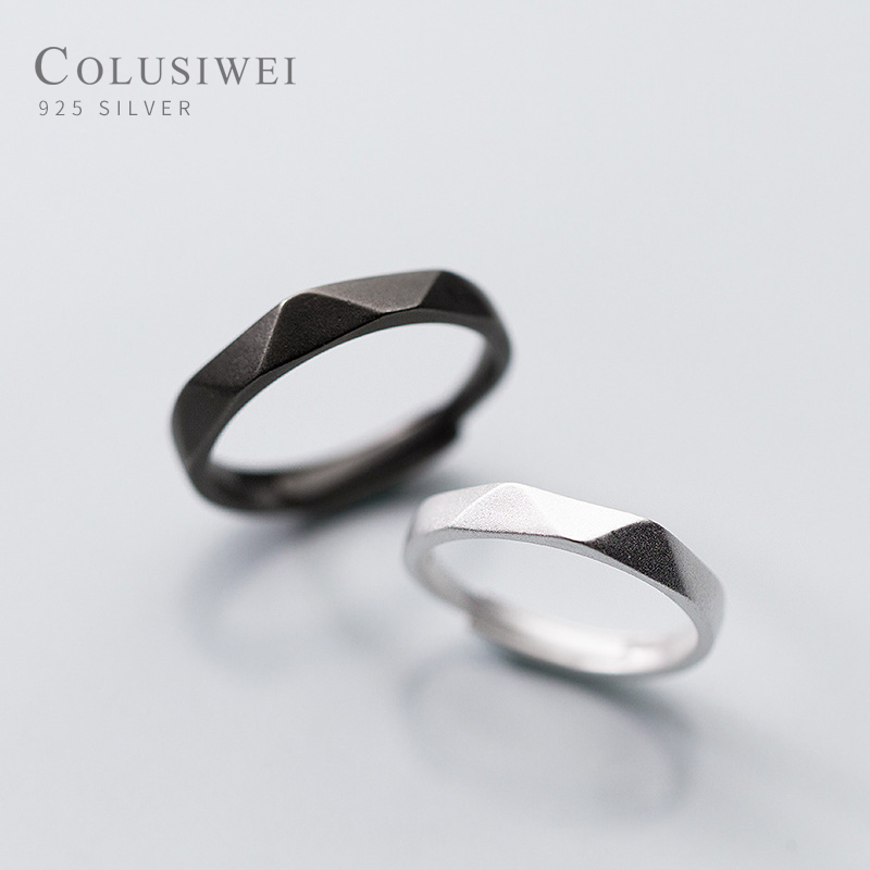 Colusiwei Simple Minimalist Real 925 Sterling Silver Finger Rings For Women Men Grind Arenaceous Gift Couple Rings Lover Jewelry