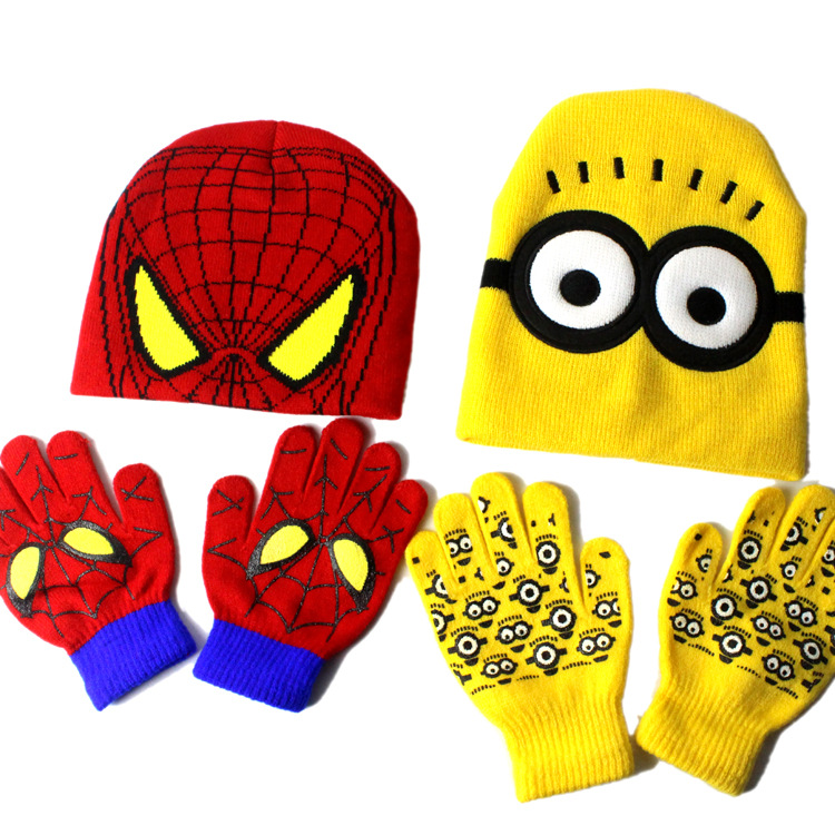 Winter Autumn Spiderman Beanies Cap Gloves Set For Kids Knitted Hat Hero Embroidery Children Bonnet Cap 2019 News