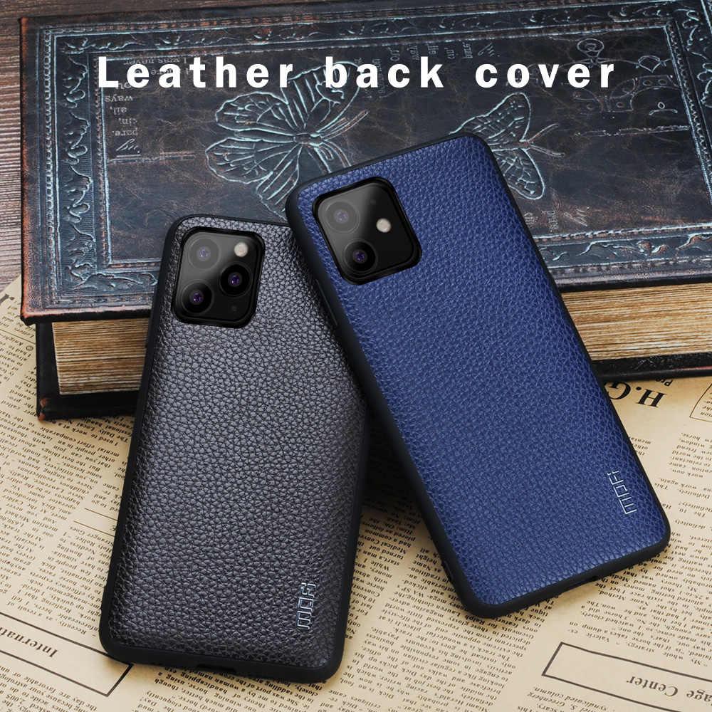 Para o iphone 11 pro caso mofi capa para iphone 11 caso para o iphone 11 pro max couro do plutônio macio voltar luva tampa protetor preto vermelho