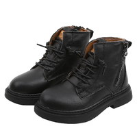 Fashion Kids shoes Snow Booties Children Leather Shoes Pure Color Flat Casual Boots Anti Slip Comfortable Black Beige SX189