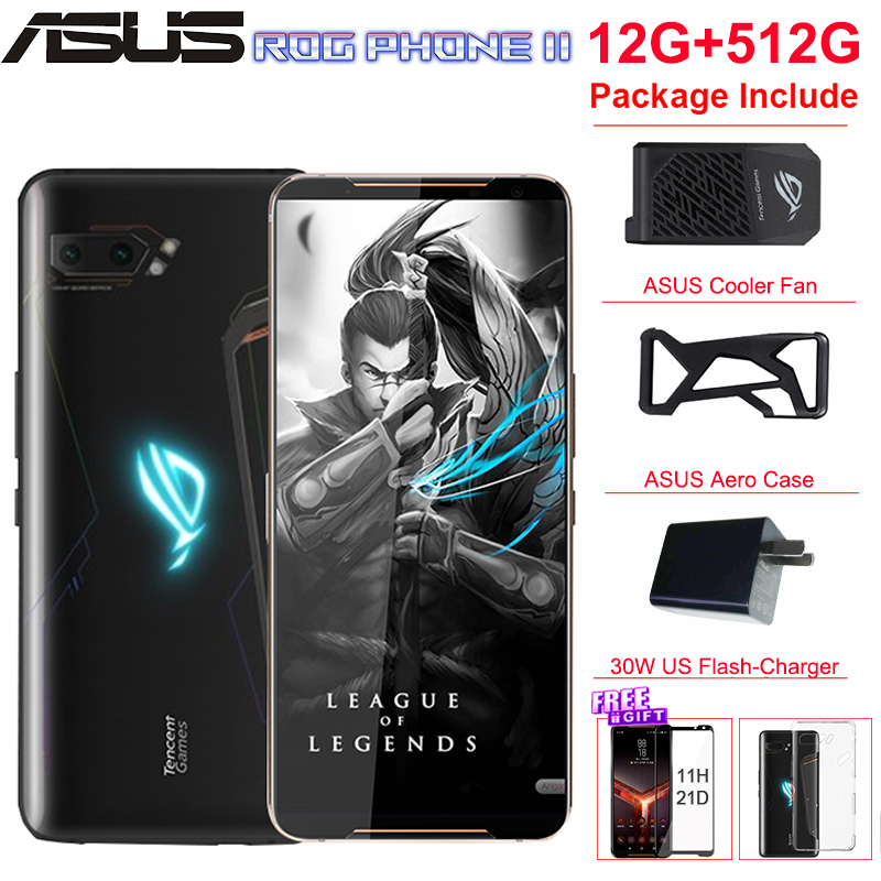 "Global ROM ASUS ROG Phone 2 Mobile Phone 12G 512G 6.59"" Snapdragon 855+ 48MP Cameras Android 120Hz 6000mAh NFC ROG II Game Phone"