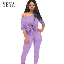YEYA Two Pieces Sets Lace-up Hollow Out Women Tracksuit Ladies Casual High Streetwear Womens Outfits Summer Conjunto Feminino