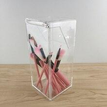1Pc Acrylic Makeup Brush Holder Square Cosmetic Storage Box