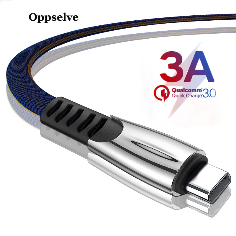Oppselve USB Type C Cable 3A Fast Charge 3m USBC Type-C For Xiaomi K20 Samsung S9 Oneplus 7 Pro Mobile Phone USB-C Charger