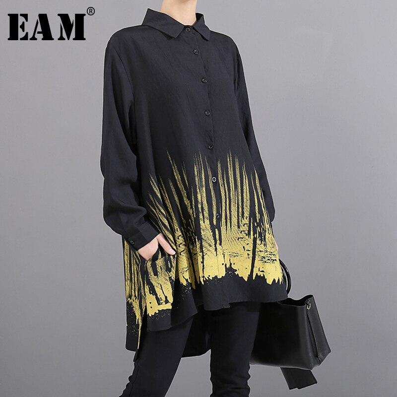 [EAM] Women Hem Patter Print Big Size Asymmetrical Blouse New Lapel Long Sleeve Loose Fit Shirt Fashion Spring Autumn 2019 1A925