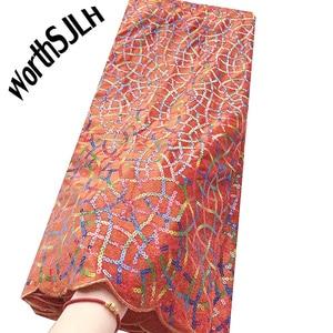 Image 2 - Ultime Africano Tessuto di Pizzo di Maglia Con Paillettes Francese Tulle Tessuto di Pizzo blu Royal Merletto Del Velluto Per Il Nigeriano Partito di Sera