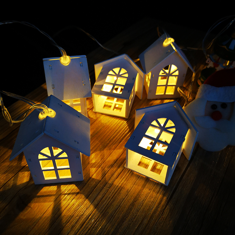 QYJSD New LED Wood House String Light 3M Garland House New Years Christmas Tree Wedding Party Fairy Lights Novelty Decoration