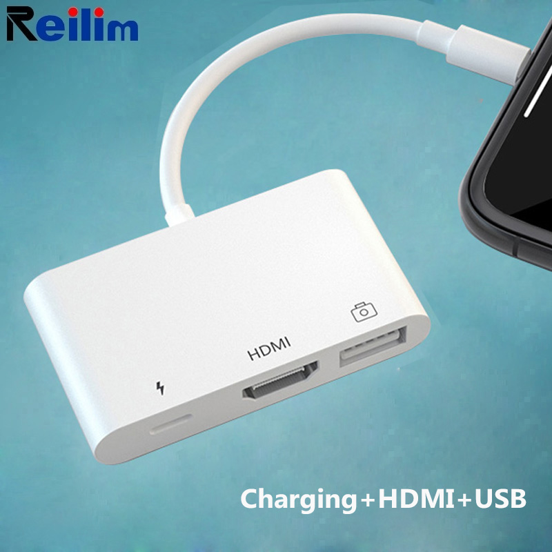 HDMI Adapter For Lightning To AV HDMI/HDTV TV Digital USB Cable Adapter For Iphone 8 X 7 Ios 13 For Iphonr HDMI Cable Adapter