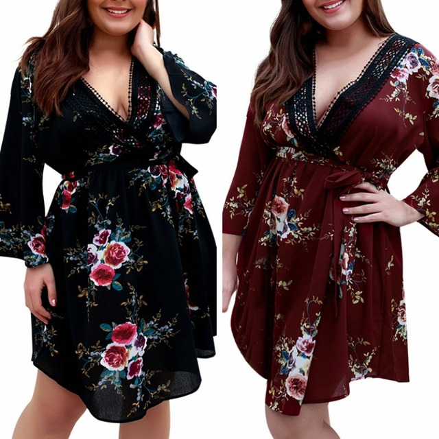 Women's Dress Female Spring Summer Casual Loose Fashion Deep V Neck Long Sleeve Floral Print Large Size Dresses 6